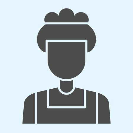 Maid solid icon. Household, hotel room cleaning service, woman with cap. Horeca vector design concept, glyph style pictogram on white background, use for web and app. Eps 10.
