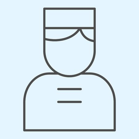Door man thin line icon. Hotel concierge person with cap. Horeca vector design concept, outline style pictogram on white background, use for web and app. Eps 10.