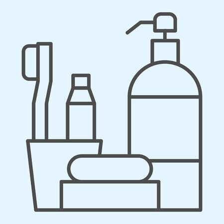 Hotel bath time items thin line icon. Bathroom accessories set for hygiene. Horeca vector design concept, outline style pictogram on white background, use for web and app. Eps 10.