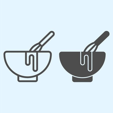 Manual stirring line and solid icon. Whisk and bowl, whipping cream process. Illustration
