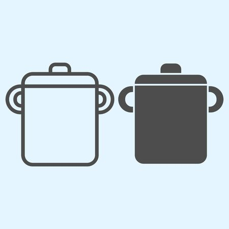 Pot line and solid icon. Saucepan for brewing food.