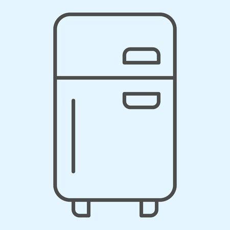 Fridge thin line icon. Refrigerator device square box and doors with freezer. Vetores