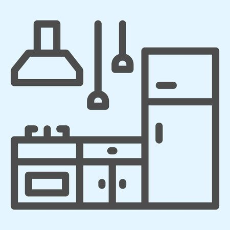 Cooking stand set line icon. Interior fittings to cook food. Home-style kitchen design concept