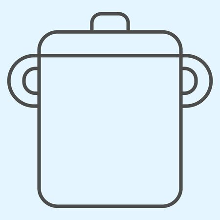 Pot thin line icon. Saucepan for brewing food.