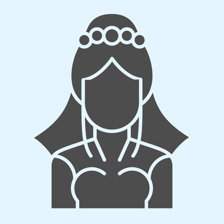 Bride with veil solid icon. Silhouette of woman in elegant dress.