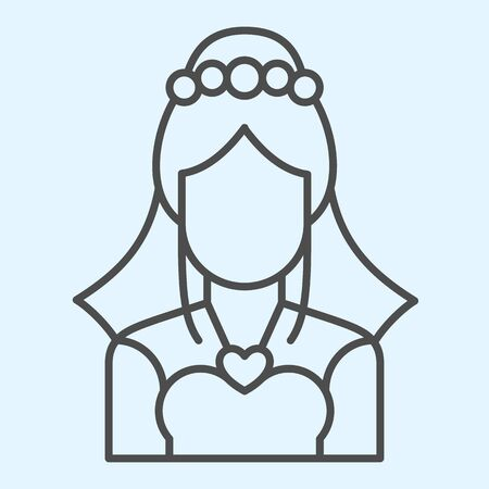Bride with veil thin line icon. Silhouette of woman in elegant dress. 矢量图像