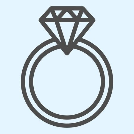 Engagement ring line icon. Romantic proposal jewelry item with diamond. 矢量图像