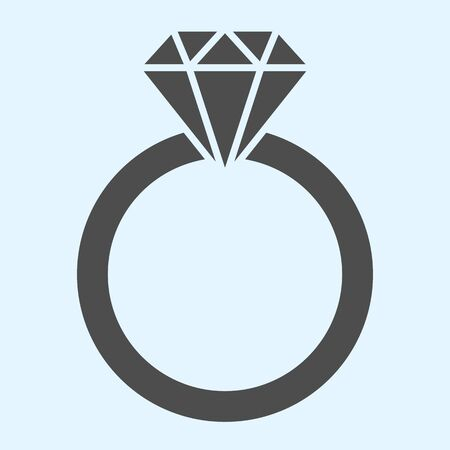 Engagement ring solid icon. Romantic proposal jewelry item with diamond. 矢量图像
