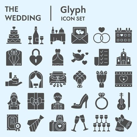 Wedding solid icon set. Getting married collection illustrations, web symbols, glyph style pictograms 矢量图像