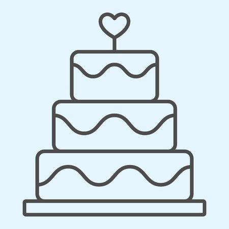 Cake thin line icon. Holiday celebration sweets stand with heart shape.