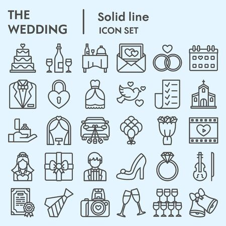 Wedding line icon set. Getting married collection    illustrations, web symbols, linear pictograms