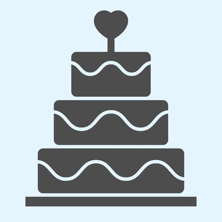 Cake solid icon. Holiday celebration sweets stand with heart shape.