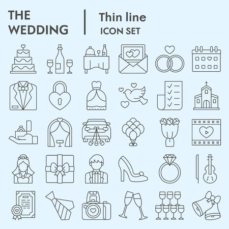 Wedding thin line icon set. Getting married collection  illustrations, web symbols, linear pictograms