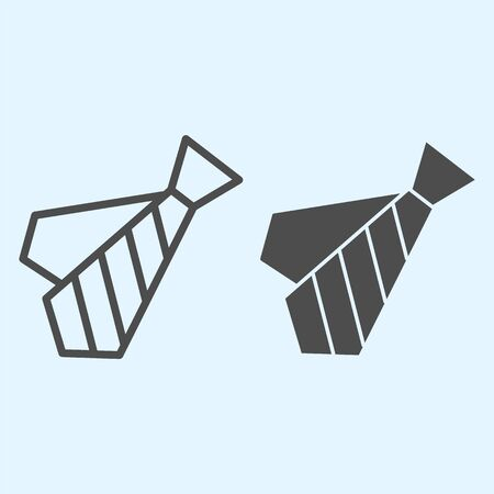 Tie line and solid icon. Black dress code necktie clothes.