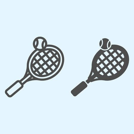 Tennis line and solid icon. Racket with net and shuttlecock ball.