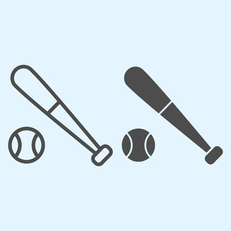 Bit and ball line and solid icon. Cricket or baseball equipment with ball.