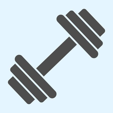 Dumbbells solid icon. Heavy weights barbel.