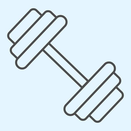 Dumbbells thin line icon. Heavy weights barbel.