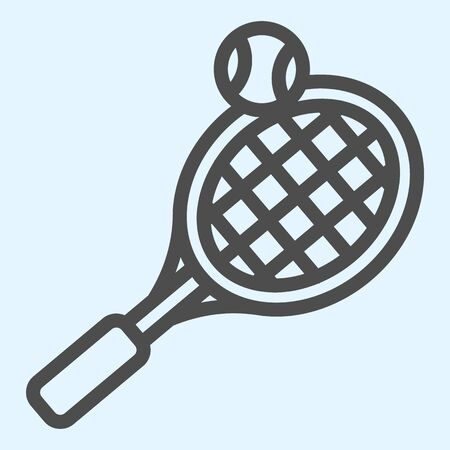 Tennis line icon. Racket with net and shuttlecock ball.