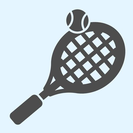 Tennis solid icon. Racket with net and shuttlecock ball. Stock Illustratie