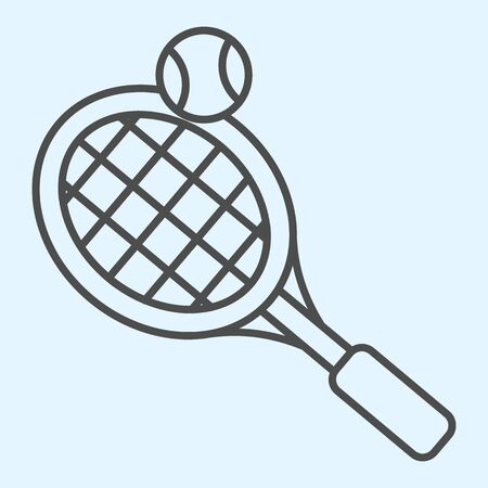 Tennis thin line icon. Racket with net and shuttlecock ball.
