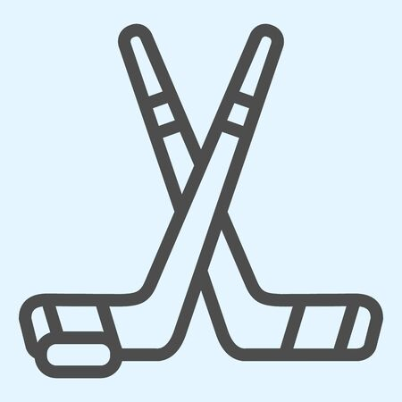 Hockey sticks line icon. Field crossed game inventory and puck.