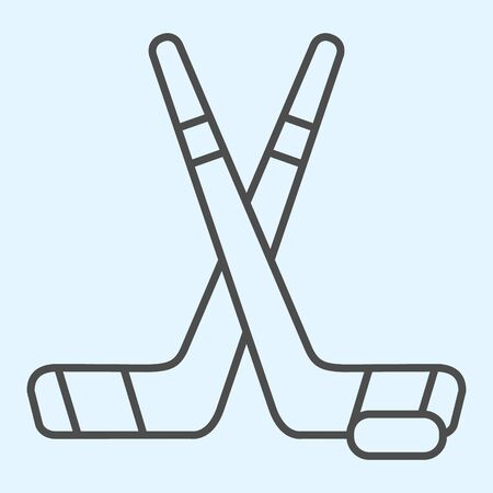 Hockey sticks thin line icon. Field crossed game inventory and puck.