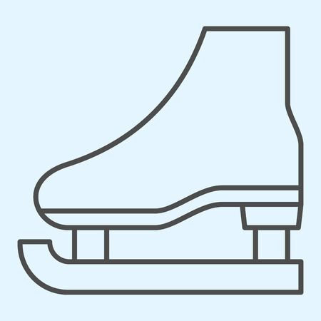 Skate thin line icon. Shoes for playing hockey on ice.