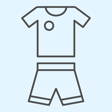 Suit thin line icon. Shorts and t-shirt, baseball or football uniform cloth.