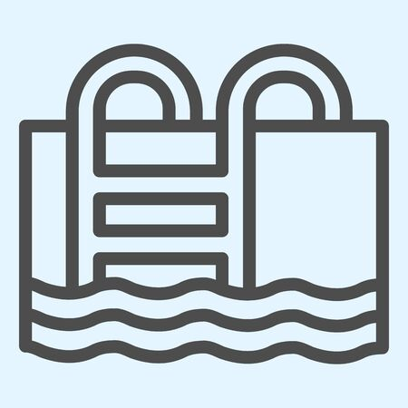 Swimming pool line icon. Basin full of water with ladder.
