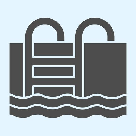 Swimming pool solid icon. Basin full of water with ladder. Stock Illustratie