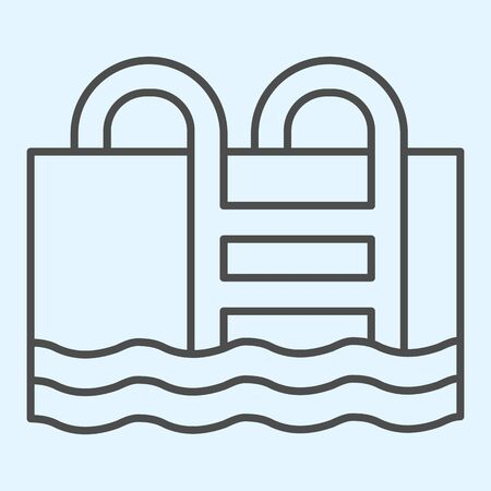 Swimming pool thin line icon. Basin full of water with ladder. Stock Illustratie