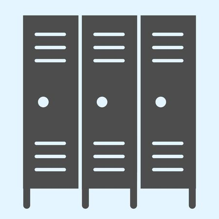 School safe lockers solid icon. Locker or cabinet for school closet, gym, stadium.