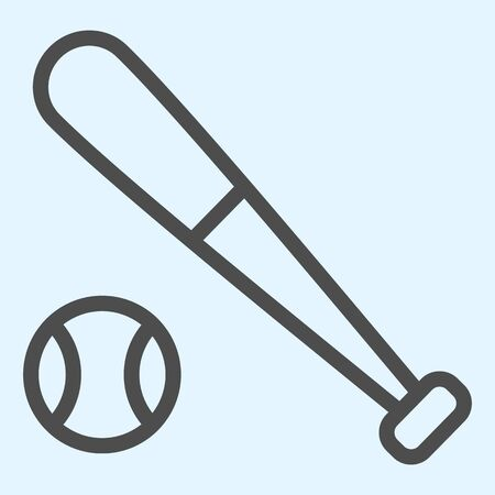 Bit and ball line icon. Cricket or baseball equipment with ball.