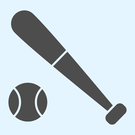 Bit and ball solid icon. Cricket or baseball equipment with ball.