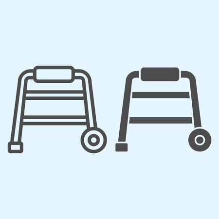 Walkers line and solid icon. Hospital equipment for elderly disabled people. Illustration