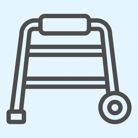 Walkers line icon. Hospital equipment for elderly disabled people.