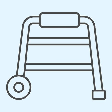 Walkers thin line icon. Hospital equipment for elderly disabled people.