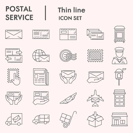 Postal service thin line icon set, Postage mail collection