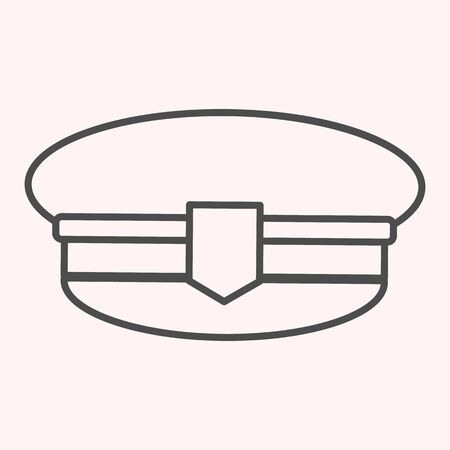 Postman cap thin line icon. Mail man hat, uniform clothes.