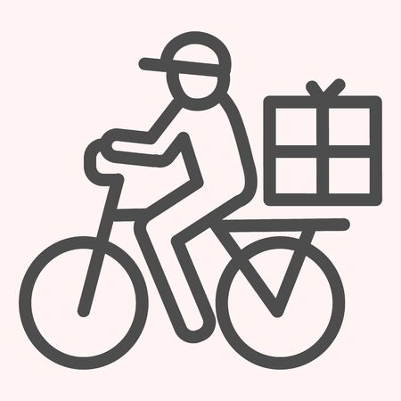 Postman riding bicycle line icon. Mail delivery man on bike with box.