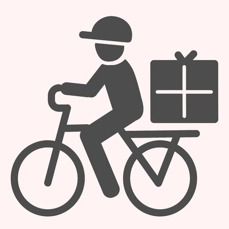 Postman riding bicycle glyph icon. Mail delivery man on bike with box. Vettoriali