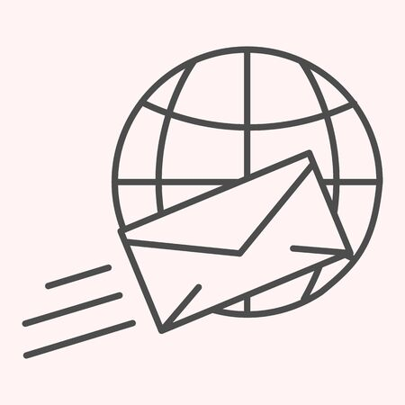 International mail thin line icon.