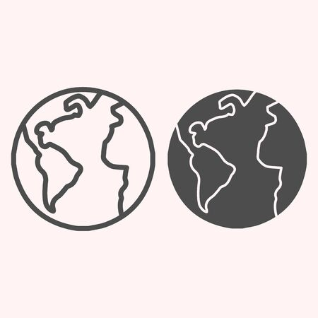 Planet Earth line and glyph icon. World view with oceans and continents. Astronomy vector design concept, outline style pictogram on white background, use for web and app. Eps 10.
