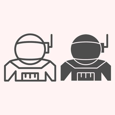 Spaceman costume line and glyph icon. Cosmonaut uniform cloth with antenna. Astronomy vector design concept, outline style pictogram on white background, use for web and app. Eps 10.