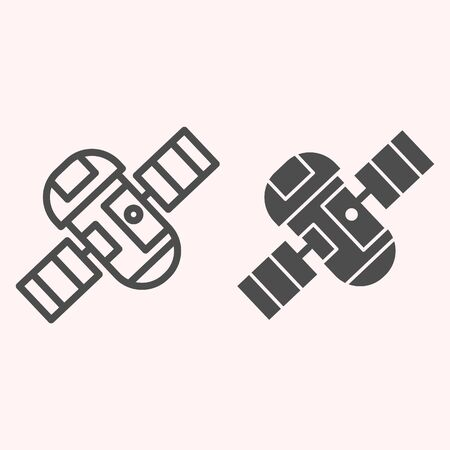 Satellite line and glyph icon. Spaceship with communication equipment and solar battery. Astronomy vector design concept, outline style pictogram on white background, use for web and app. Eps 10.
