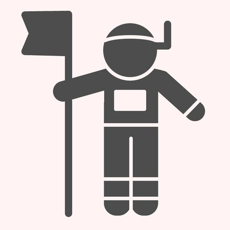 Astronaut with flag glyph icon. Cosmonaut, human in space. Astronomy vector design concept, solid style pictogram on white background, use for web and app. Eps 10.