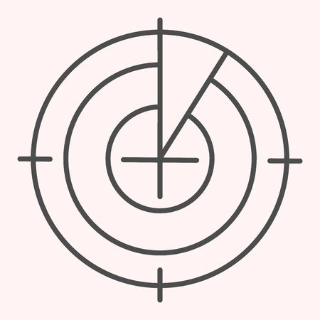 Radar monitor thin line icon. Search and detect purpose sonar. Astronomy vector design concept, outline style pictogram on white background, use for web and app. Eps 10.