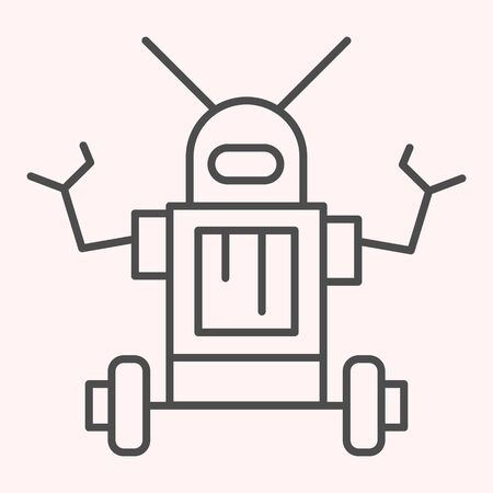 Robot thin line icon. Anthropomorphic device with antennas on its head. Astronomy vector design concept, outline style pictogram on white background, use for web and app. Eps 10.