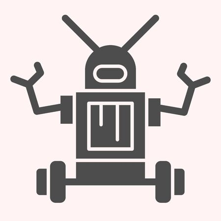 Robot glyph icon. Anthropomorphic device with antennas on its head. Astronomy vector design concept, solid style pictogram on white background, use for web and app. Eps 10.